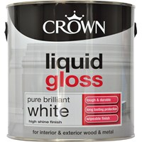 Crown  Liquid Gloss Brilliant White Paint - 2.5 Litre