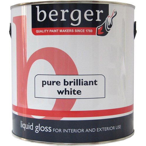 Berger  Liquid Gloss Brilliant White Paint - 1.25 Litre