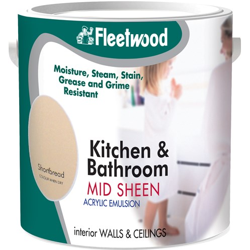 Fleetwood Kitchen and Bathroom Acrylic Eggshell Colours Paint - 2.5 Litre
