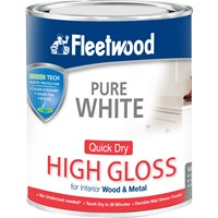 Fleetwood Quick Dry High Gloss Brilliant White Paint - 750ml
